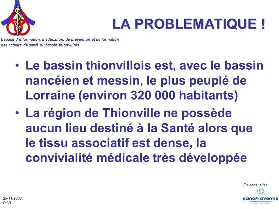 Espace dinformation, déducation, de prévention et de formation des acteurs de santé du bassin thionvillois En partenariat 25/11/2008 PCB LA PROBLEMATIQUE .