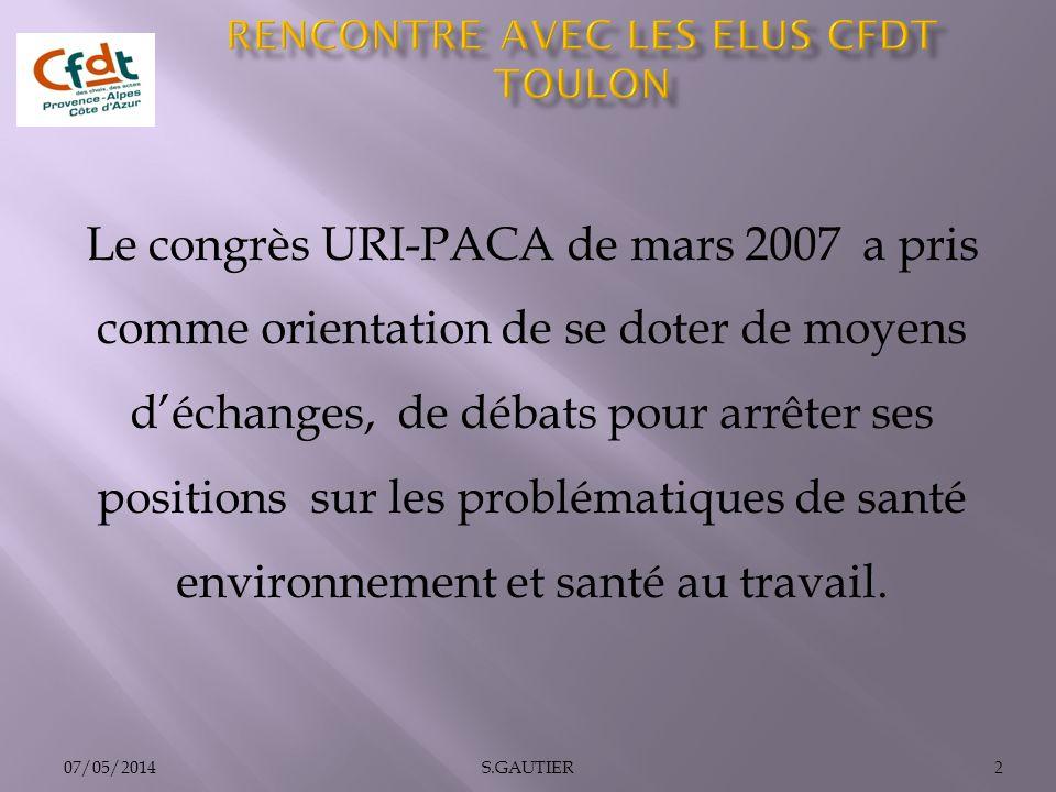 07/05/20142S.GAUTIER Le congrès URI-PACA de mars 2007 a pris comme orientation de se doter de moyens déchanges, de débats pour arrêter ses positions s