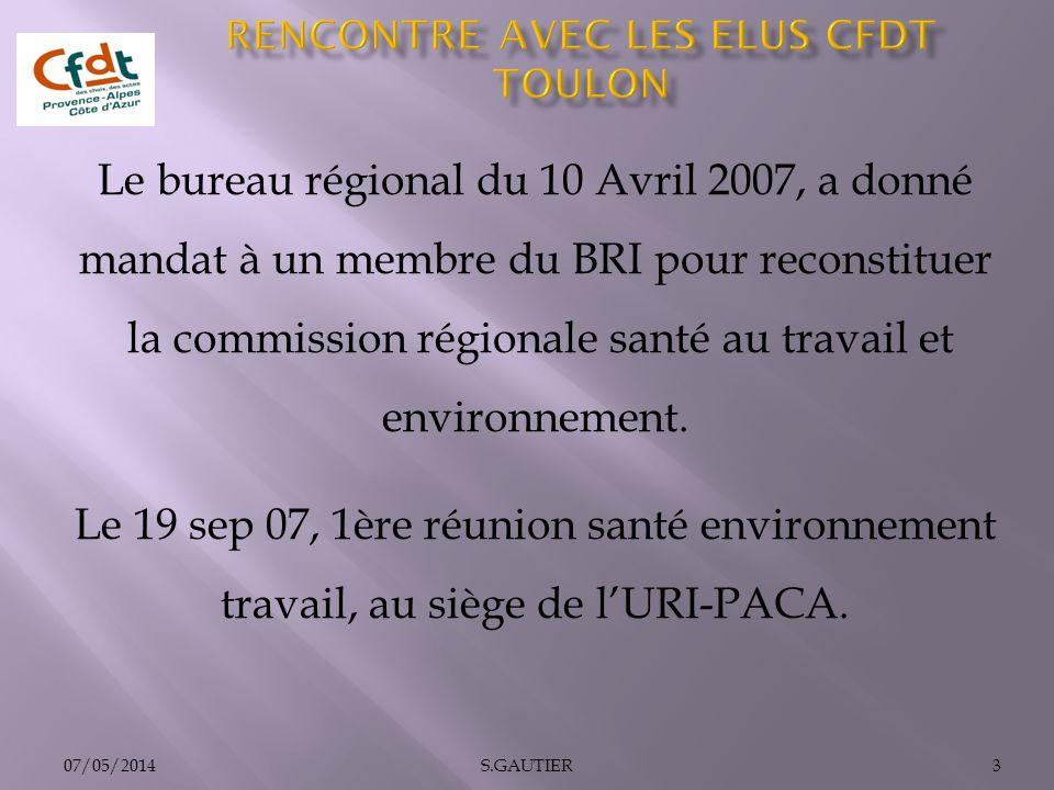 Le bureau régional du 10 Avril 2007, a donné mandat à un membre du BRI pour reconstituer la commission régionale santé au travail et environnement. Le