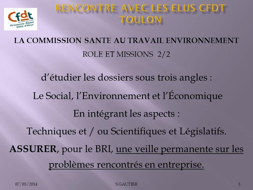 LA COMMISSION SANTE AU TRAVAIL ENVIRONNEMENT ROLE ET MISSIONS 2/2 détudier les dossiers sous trois angles : Le Social, lEnvironnement et lÉconomique E