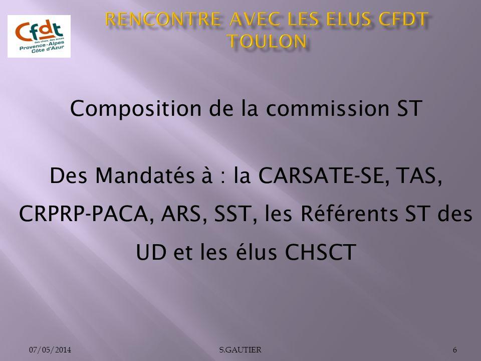 Composition de la commission ST Des Mandatés à : la CARSATE-SE, TAS, CRPRP-PACA, ARS, SST, les Référents ST des UD et les élus CHSCT 07/05/20146S.GAUT