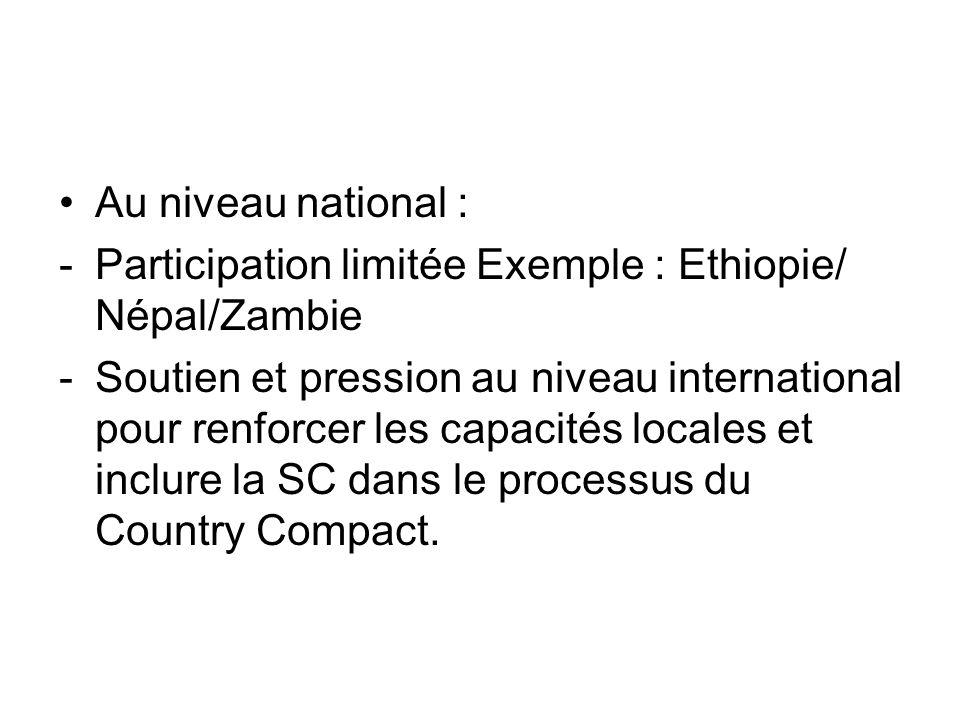 Au niveau national : -Participation limitée Exemple : Ethiopie/ Népal/Zambie -Soutien et pression au niveau international pour renforcer les capacités