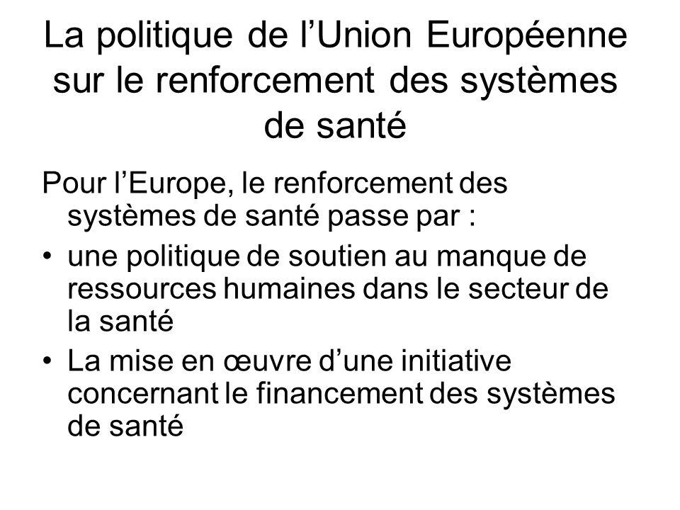 La politique de lUnion Européenne sur le renforcement des systèmes de santé Pour lEurope, le renforcement des systèmes de santé passe par : une politi