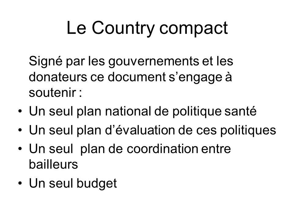 Le Country compact Signé par les gouvernements et les donateurs ce document sengage à soutenir : Un seul plan national de politique santé Un seul plan