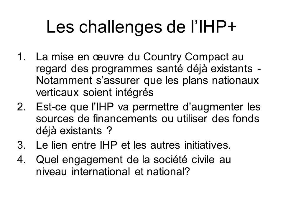 Les challenges de lIHP+ 1.La mise en œuvre du Country Compact au regard des programmes santé déjà existants - Notamment sassurer que les plans nationa
