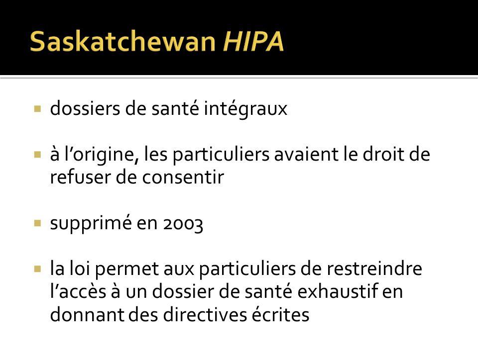 dossiers de santé intégraux à lorigine, les particuliers avaient le droit de refuser de consentir supprimé en 2003 la loi permet aux particuliers de r