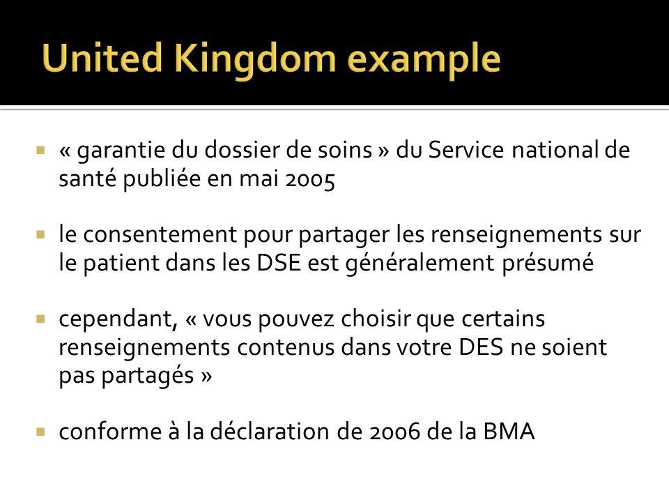 « garantie du dossier de soins » du Service national de santé publiée en mai 2005 le consentement pour partager les renseignements sur le patient dans les DSE est généralement présumé cependant, « vous pouvez choisir que certains renseignements contenus dans votre DES ne soient pas partagés » conforme à la déclaration de 2006 de la BMA