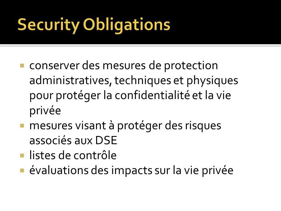conserver des mesures de protection administratives, techniques et physiques pour protéger la confidentialité et la vie privée mesures visant à protég
