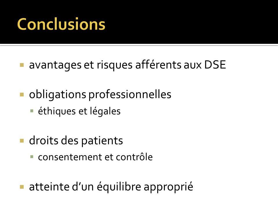 avantages et risques afférents aux DSE obligations professionnelles éthiques et légales droits des patients consentement et contrôle atteinte dun équi