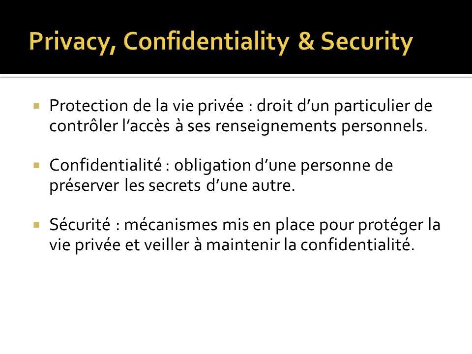 Protection de la vie privée : droit dun particulier de contrôler laccès à ses renseignements personnels. Confidentialité : obligation dune personne de