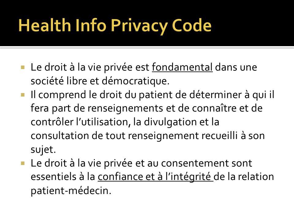 Le droit à la vie privée est fondamental dans une société libre et démocratique. Il comprend le droit du patient de déterminer à qui il fera part de r