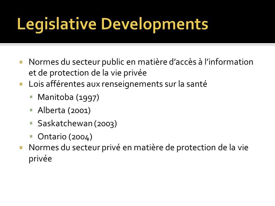 Normes du secteur public en matière daccès à linformation et de protection de la vie privée Lois afférentes aux renseignements sur la santé Manitoba (