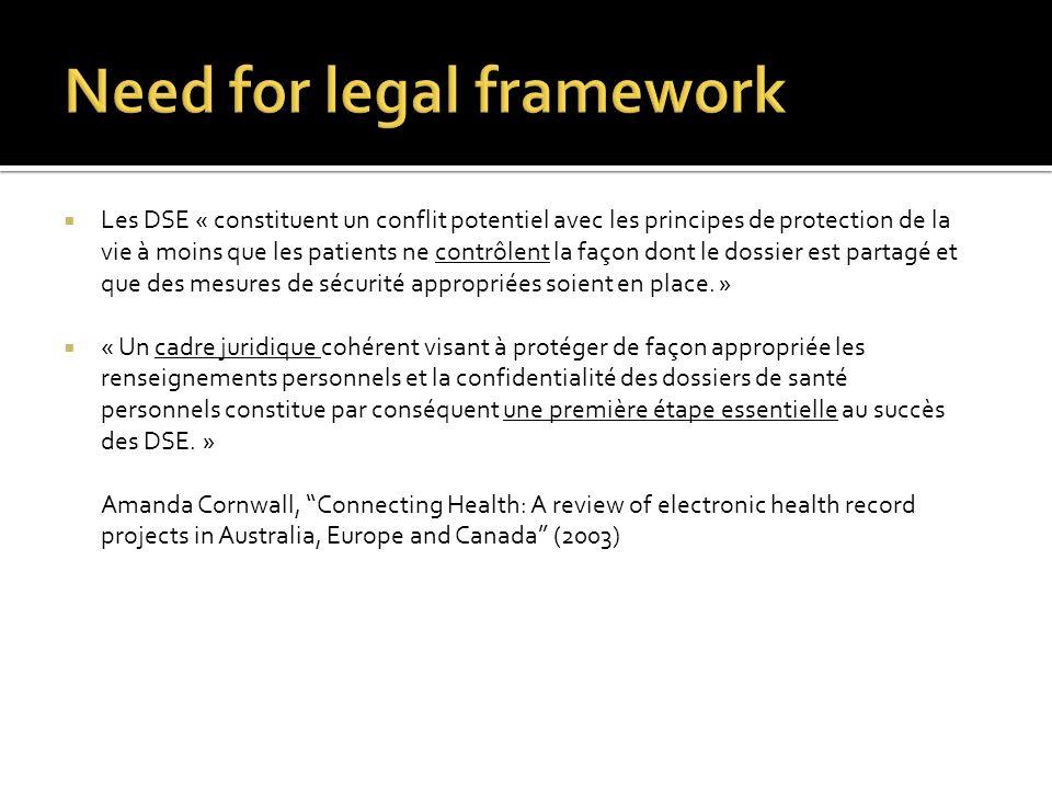 Les DSE « constituent un conflit potentiel avec les principes de protection de la vie à moins que les patients ne contrôlent la façon dont le dossier est partagé et que des mesures de sécurité appropriées soient en place.