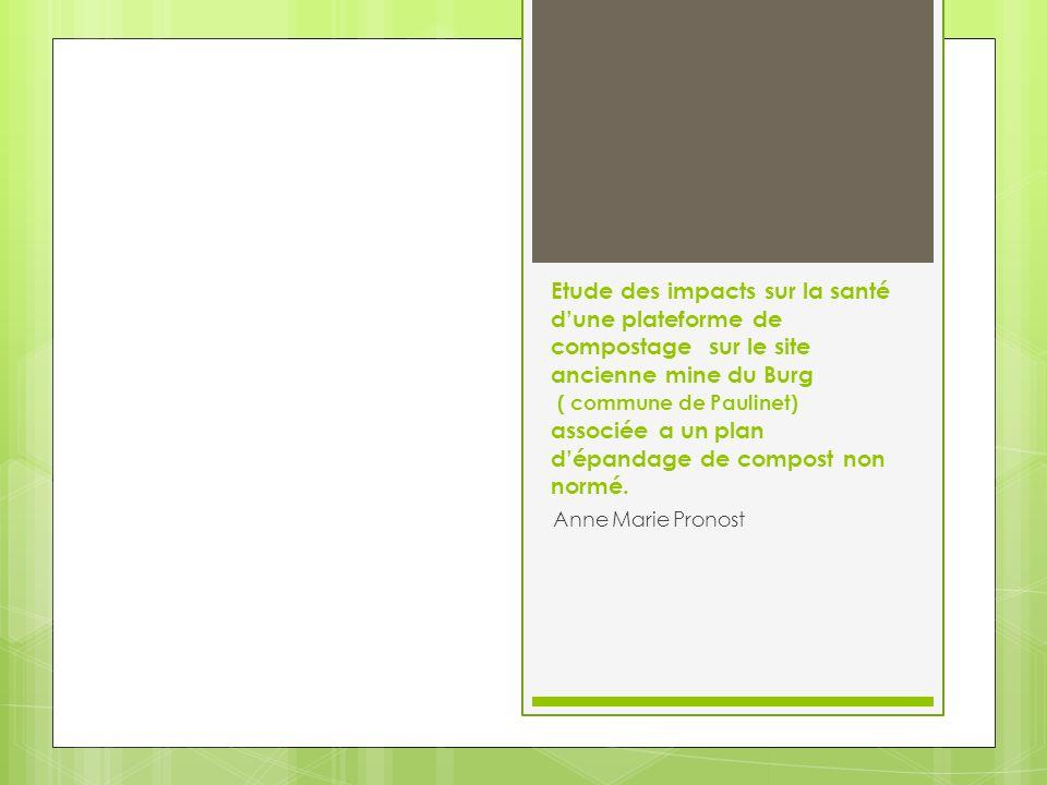Évaluation des Risques Sanitaires liés aux activités de compostage sur la plate-forme TARN COMPOST présentée dans le dossier : DOMAINE DÉTUDE DES RISQUES SANITAIRES · Les agents chimiques : Le groupe de travail qui a participé à lélaboration du guide méthodologique a sélectionné 8 traceurs sanitaires distincts : le cadmium, le nickel, le plomb, le naphtalène, lhydrogène sulfuré, lammoniac, lacétaldéhyde et le benzène.