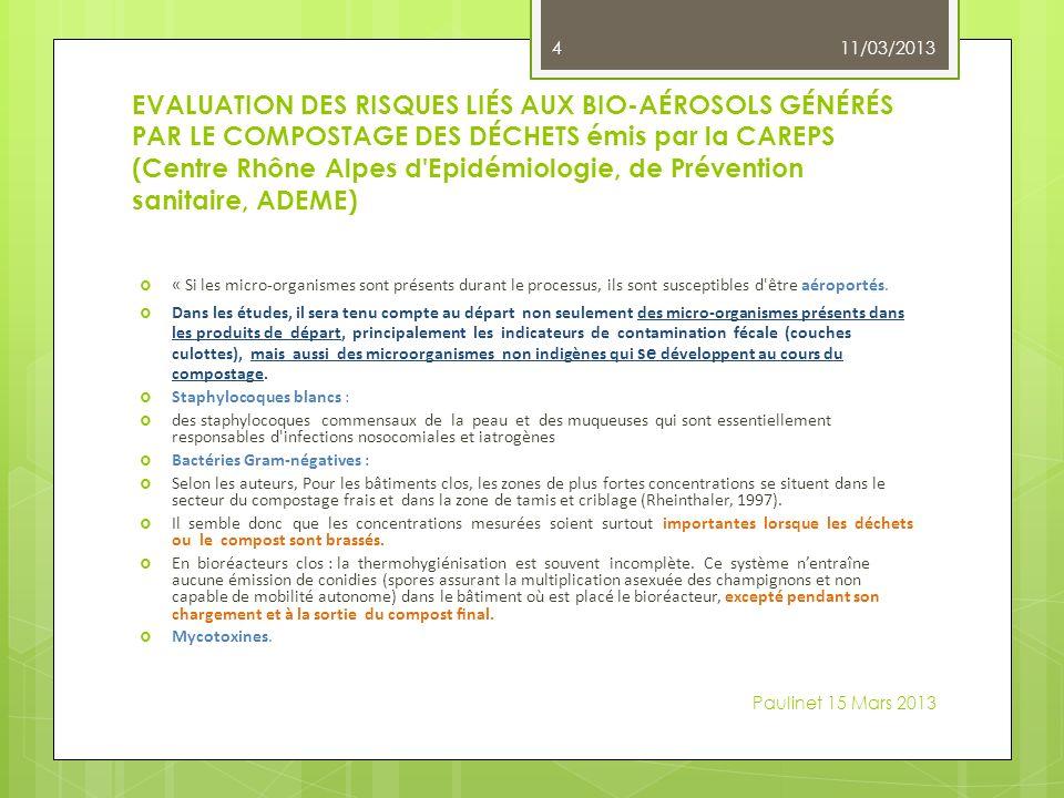 EVALUATION DES RISQUES LIÉS AUX BIO-AÉROSOLS GÉNÉRÉS PAR LE COMPOSTAGE DES DÉCHETS émis par la CAREPS (Centre Rhône Alpes d Epidémiologie, de Prévention sanitaire, ADEME) « Si les micro-organismes sont présents durant le processus, ils sont susceptibles d être aéroportés.