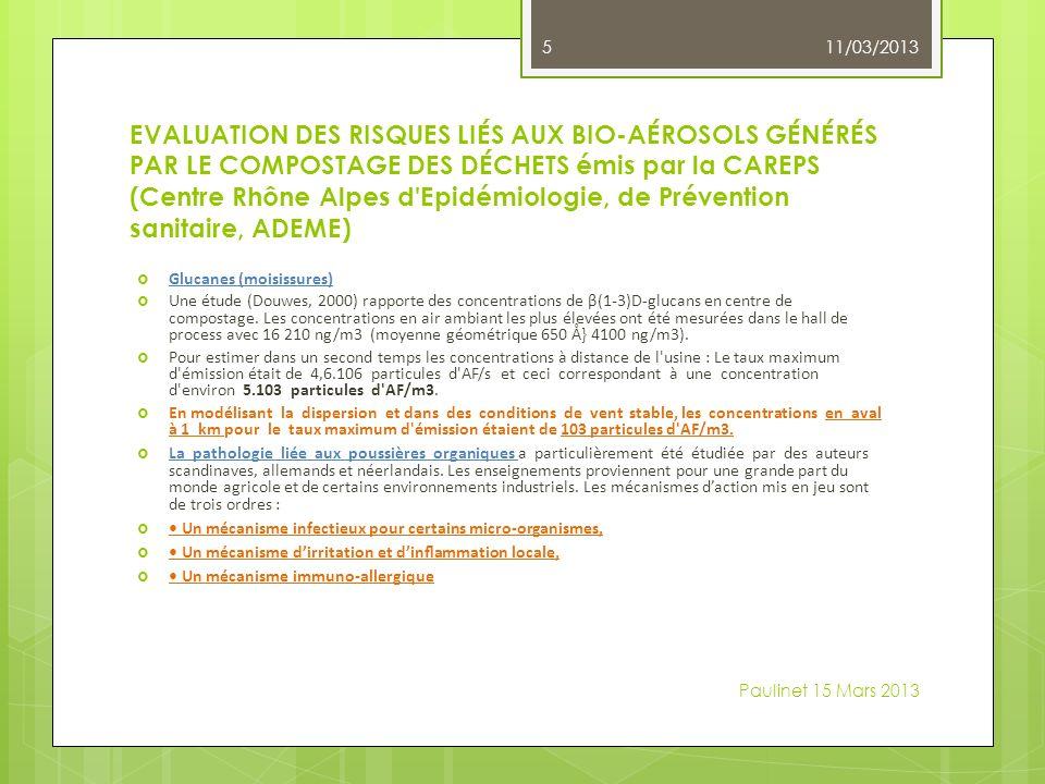 EVALUATION DES RISQUES LIÉS AUX BIO-AÉROSOLS GÉNÉRÉS PAR LE COMPOSTAGE DES DÉCHETS émis par la CAREPS (Centre Rhône Alpes d Epidémiologie, de Prévention sanitaire, ADEME) Glucanes (moisissures) Une étude (Douwes, 2000) rapporte des concentrations de β(1-3)D-glucans en centre de compostage.