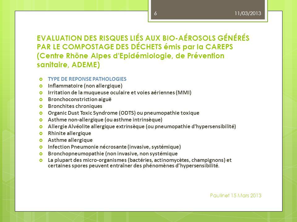 EVALUATION DES RISQUES LIÉS AUX BIO-AÉROSOLS GÉNÉRÉS PAR LE COMPOSTAGE DES DÉCHETS émis par la CAREPS (Centre Rhône Alpes d Epidémiologie, de Prévention sanitaire, ADEME) TYPE DE REPONSE PATHOLOGIES Inammatoire (non allergique) Irritation de la muqueuse oculaire et voies aériennes (MMI) Bronchoconstriction aiguë Bronchites chroniques Organic Dust Toxic Syndrome (ODTS) ou pneumopathie toxique Asthme non-allergique (ou asthme intrinsèque) Allergie Alvéolite allergique extrinsèque (ou pneumopathie d hypersensibilité) Rhinite allergique Asthme allergique Infection Pneumonie nécrosante (invasive, systémique) Bronchopneumopathie (non invasive, non systémique La plupart des micro-organismes (bactéries, actinomycètes, champignons) et certaines spores peuvent entraîner des phénomènes dhypersensibilité.