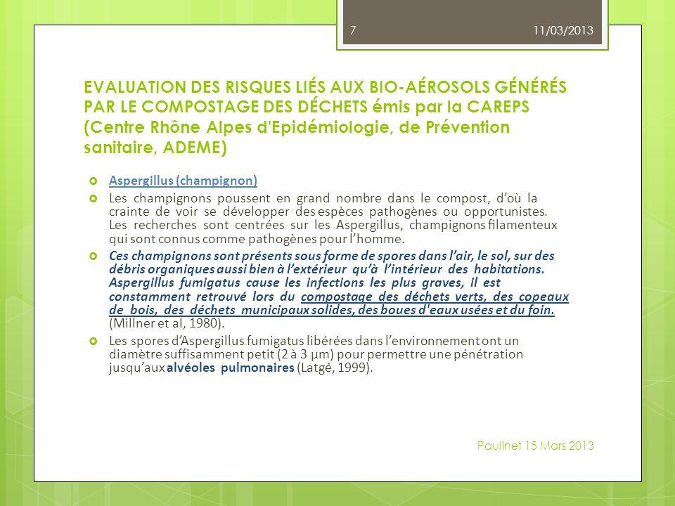 EVALUATION DES RISQUES LIÉS AUX BIO-AÉROSOLS GÉNÉRÉS PAR LE COMPOSTAGE DES DÉCHETS émis par la CAREPS (Centre Rhône Alpes d Epidémiologie, de Prévention sanitaire, ADEME) Aspergillus (champignon) Les champignons poussent en grand nombre dans le compost, doù la crainte de voir se développer des espèces pathogènes ou opportunistes.