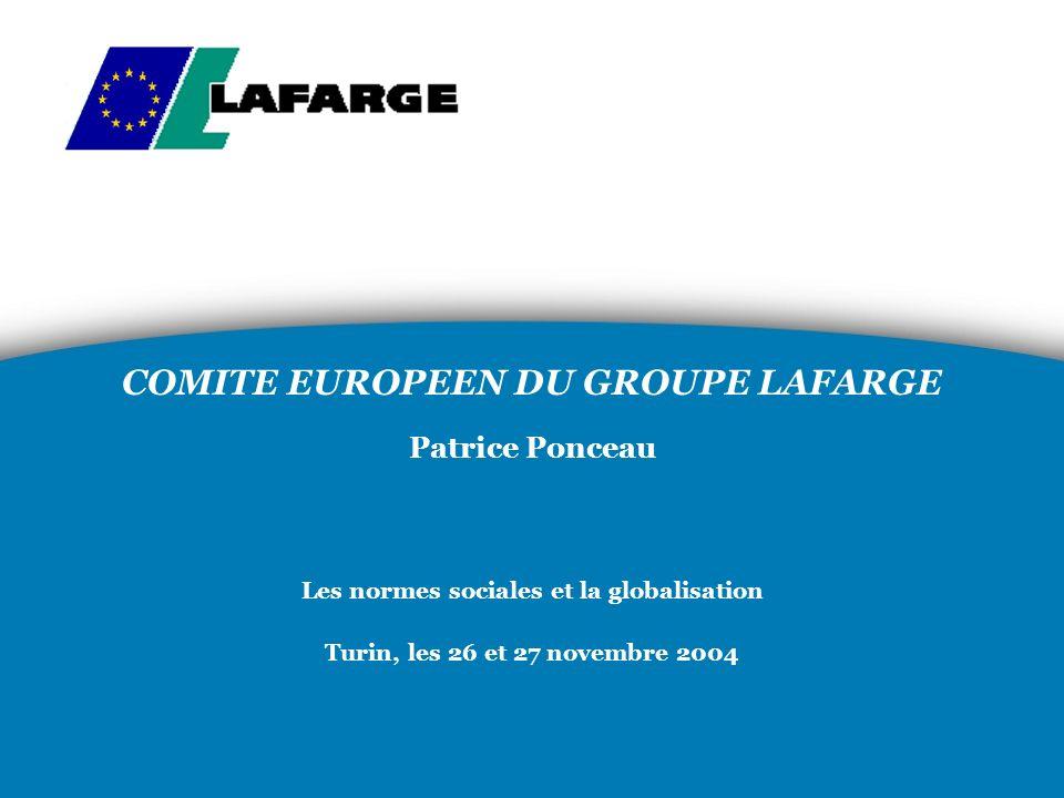COMITE EUROPEEN DU GROUPE LAFARGE Patrice Ponceau Les normes sociales et la globalisation Turin, les 26 et 27 novembre 2004