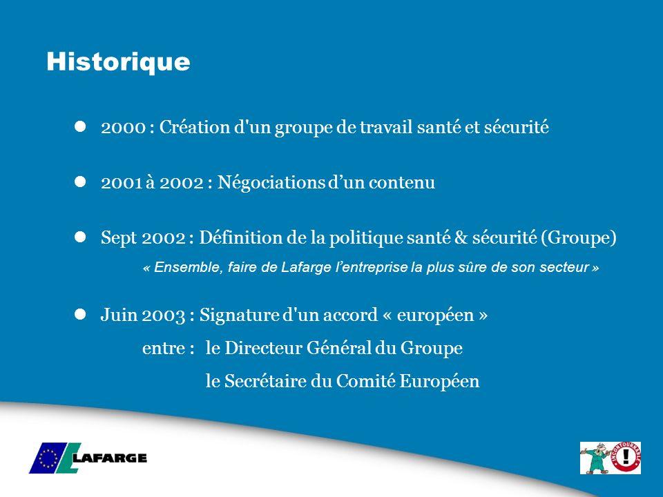 Historique 2000 : Création d'un groupe de travail santé et sécurité 2001 à 2002 : Négociations dun contenu Sept 2002 : Définition de la politique sant