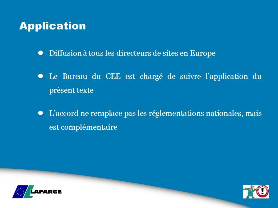 Application Diffusion à tous les directeurs de sites en Europe Le Bureau du CEE est chargé de suivre lapplication du présent texte Laccord ne remplace