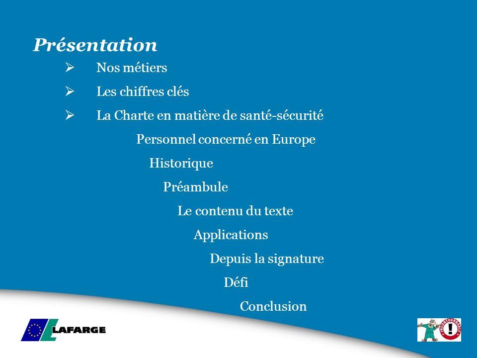 Présentation Nos métiers Les chiffres clés La Charte en matière de santé-sécurité Personnel concerné en Europe Historique Préambule Le contenu du text