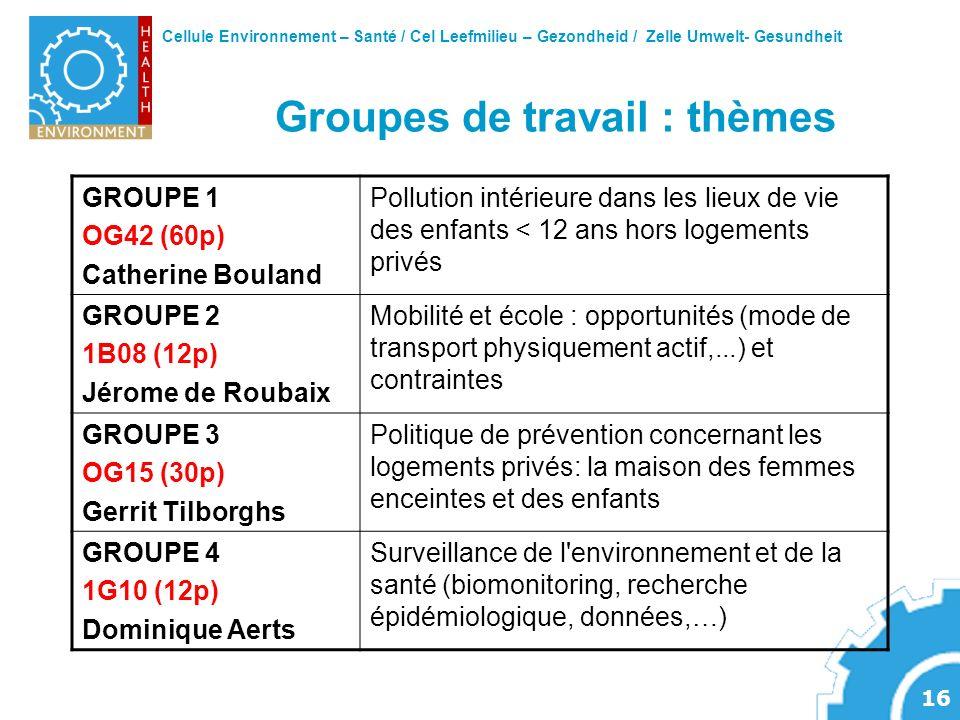 Cellule Environnement – Santé / Cel Leefmilieu – Gezondheid / Zelle Umwelt- Gesundheit 16 Groupes de travail : thèmes GROUPE 1 OG42 (60p) Catherine Bo