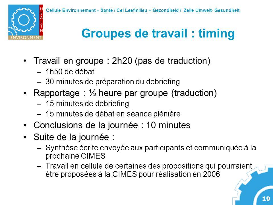 Cellule Environnement – Santé / Cel Leefmilieu – Gezondheid / Zelle Umwelt- Gesundheit 19 Groupes de travail : timing Travail en groupe : 2h20 (pas de