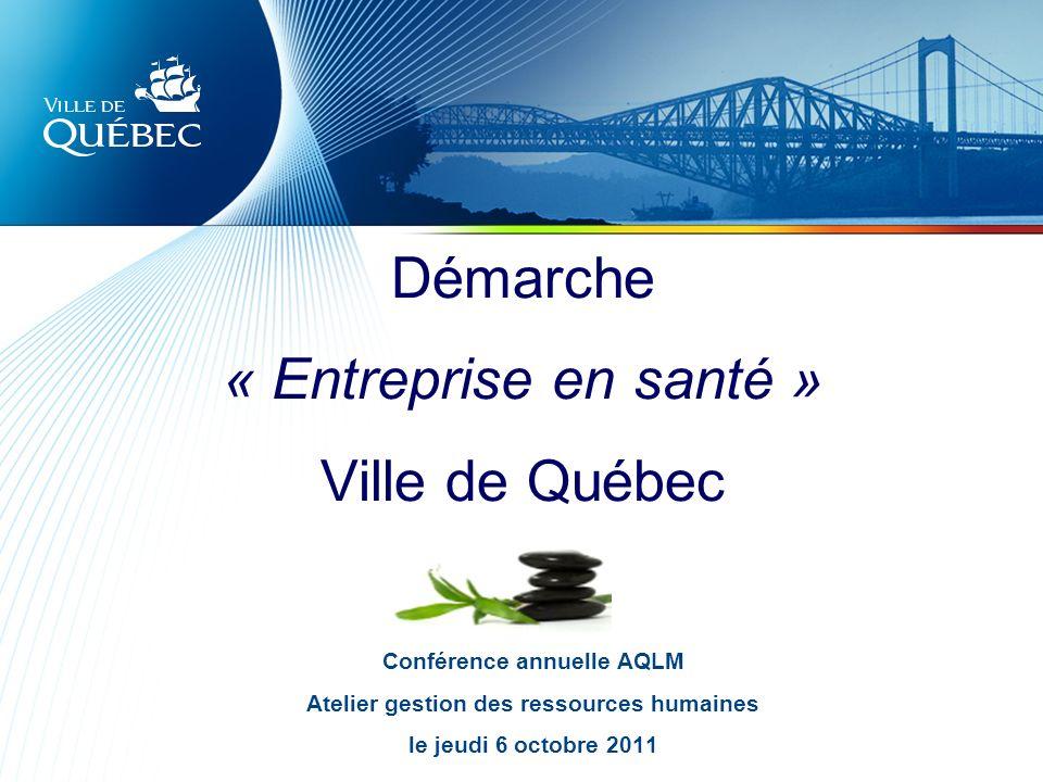 2 VILLE DE QUÉBEC Service des ressources humaines Objectifs Présenter la démarche Entreprise en santé à la Ville de Québec Partager lexpérience de deux arrondissements Échanger