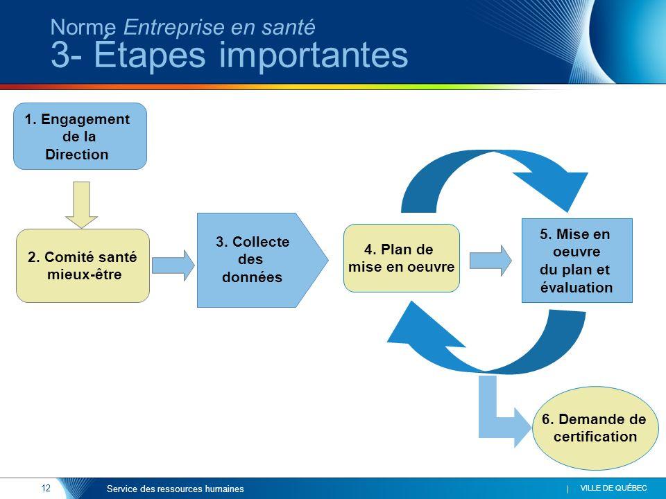 12 VILLE DE QUÉBEC Service des ressources humaines Norme Entreprise en santé 3- Étapes importantes 4. Plan de mise en oeuvre 5. Mise en oeuvre du plan