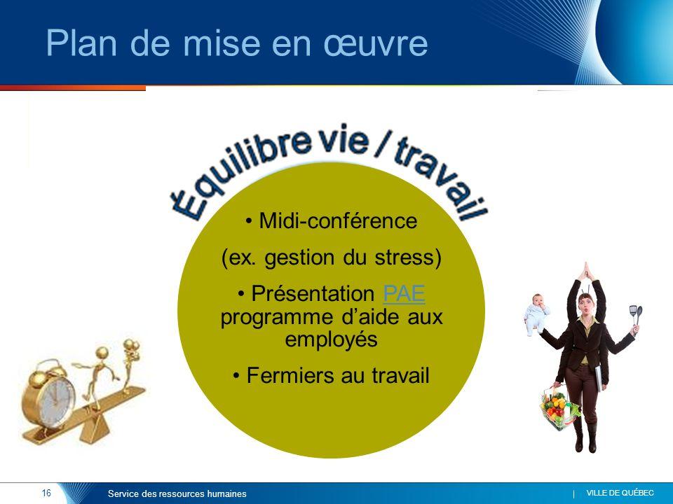 16 VILLE DE QUÉBEC Service des ressources humaines Plan de mise en œ uvre Midi-conférence (ex. gestion du stress) Présentation PAE programme daide aux