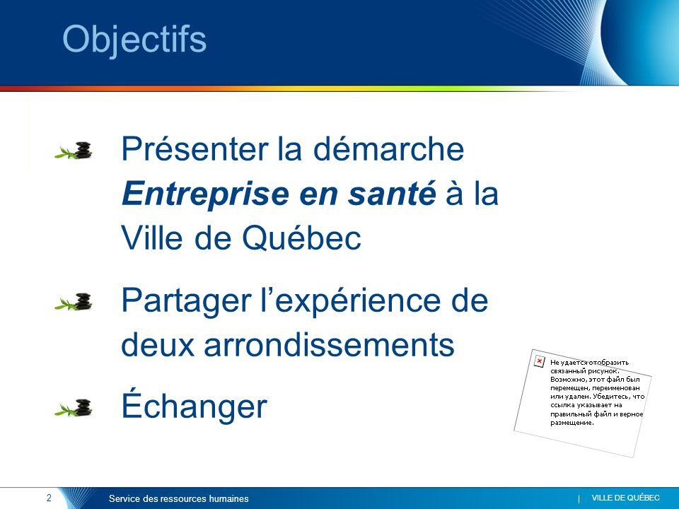 2 VILLE DE QUÉBEC Service des ressources humaines Objectifs Présenter la démarche Entreprise en santé à la Ville de Québec Partager lexpérience de deu