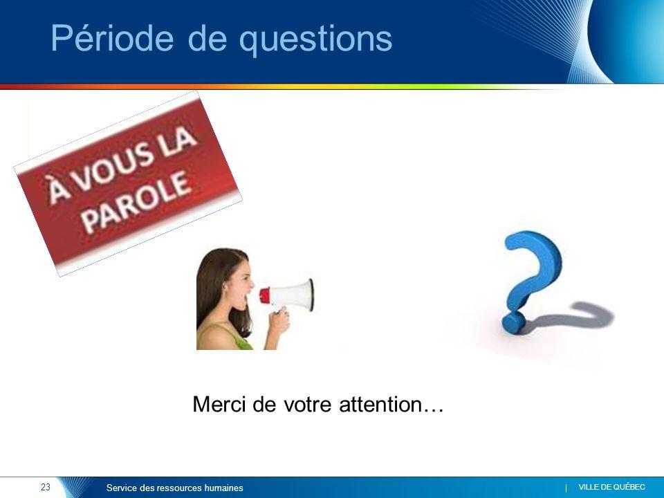 23 VILLE DE QUÉBEC Service des ressources humaines Période de questions Merci de votre attention…