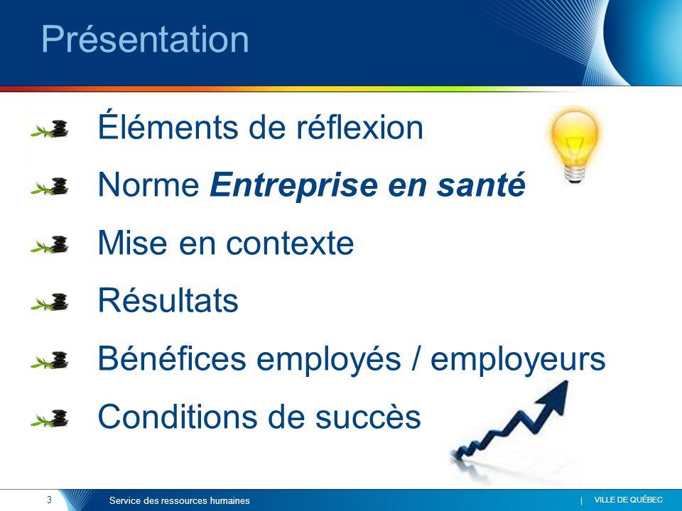 3 VILLE DE QUÉBEC Service des ressources humaines Présentation Éléments de réflexion Norme Entreprise en santé Mise en contexte Résultats Bénéfices employés / employeurs Conditions de succès