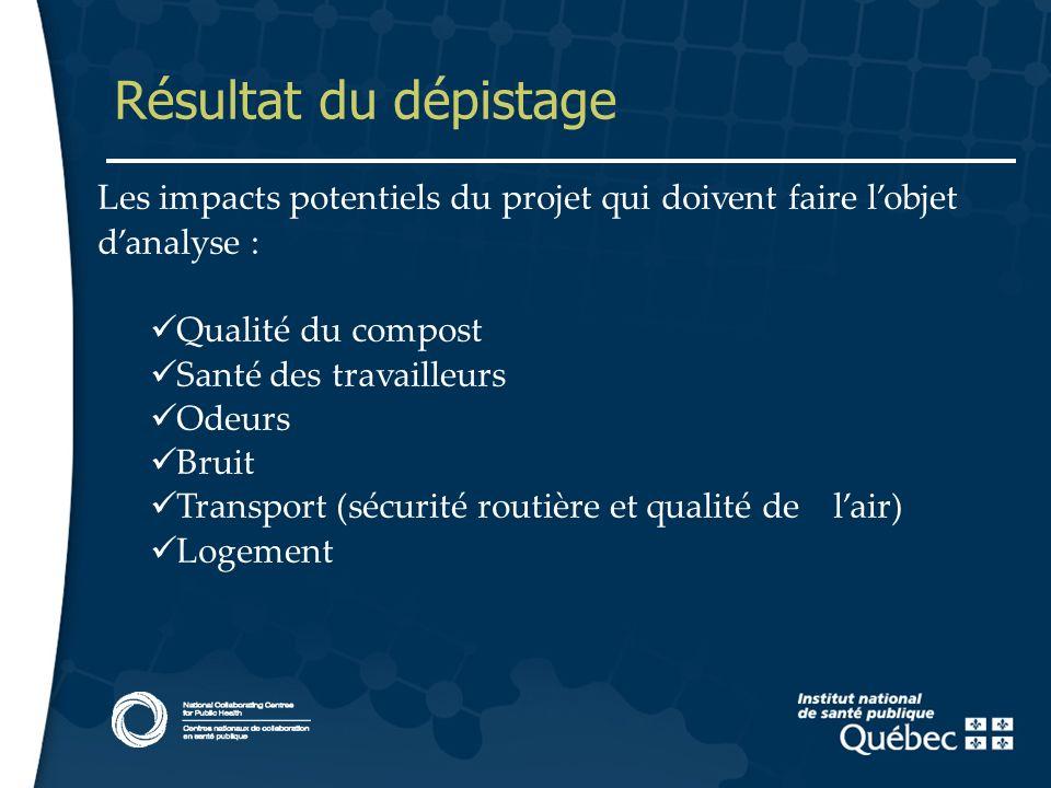 11 Résultat du dépistage Les impacts potentiels du projet qui doivent faire lobjet danalyse : Qualité du compost Santé des travailleurs Odeurs Bruit T