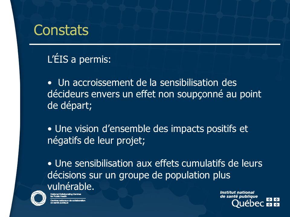 14 Constats LÉIS a permis: Un accroissement de la sensibilisation des décideurs envers un effet non soupçonné au point de départ; Une vision densemble