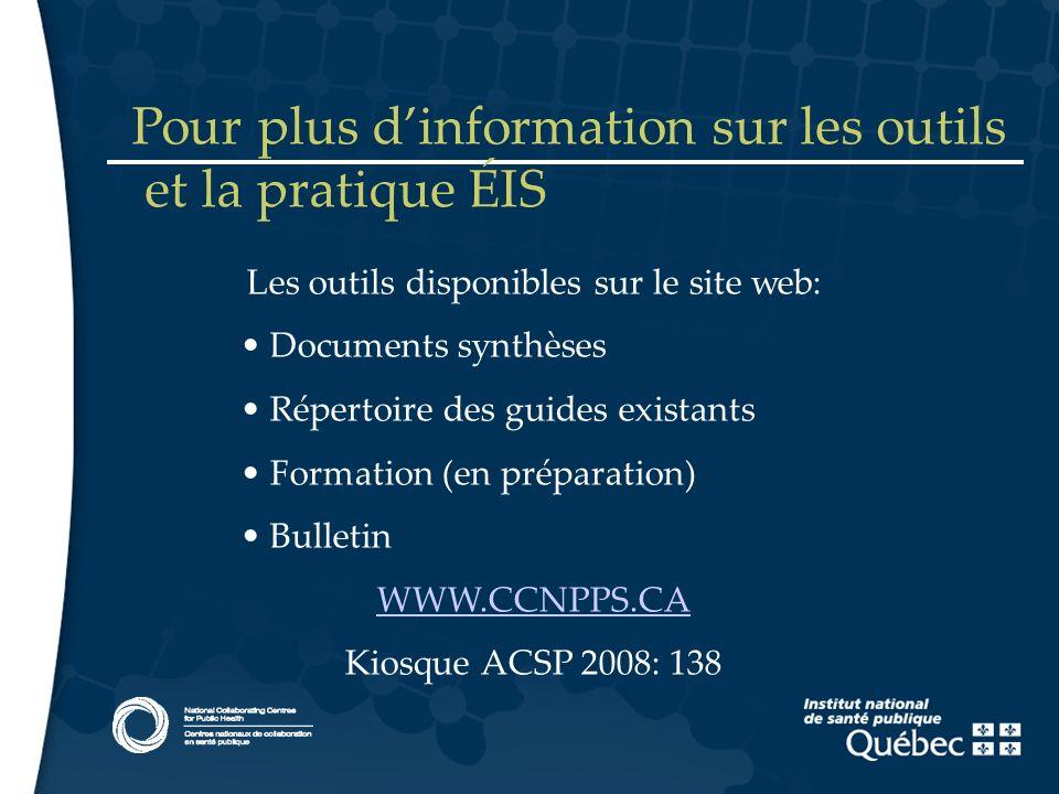 15 Les outils disponibles sur le site web: Documents synthèses Répertoire des guides existants Formation (en préparation) Bulletin WWW.CCNPPS.CA Kiosq