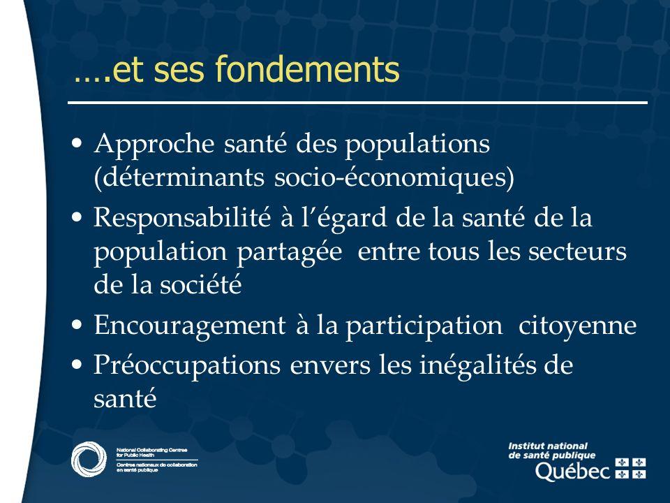 6 ….et ses fondements Approche santé des populations (déterminants socio-économiques) Responsabilité à légard de la santé de la population partagée en
