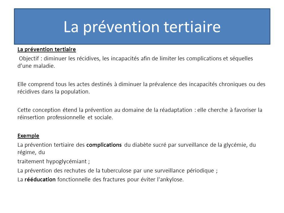 La prévention tertiaire Objectif : diminuer les récidives, les incapacités afin de limiter les complications et séquelles dune maladie. Elle comprend