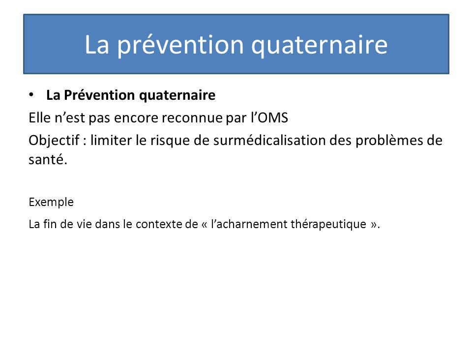 La Prévention quaternaire Elle nest pas encore reconnue par lOMS Objectif : limiter le risque de surmédicalisation des problèmes de santé. Exemple La
