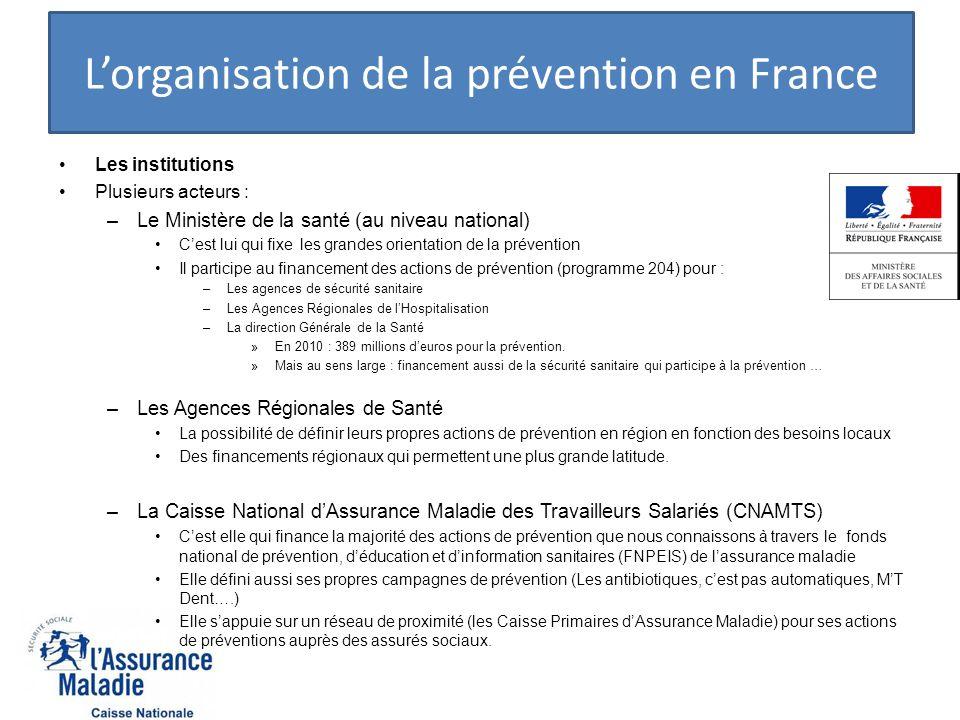Lorganisation de la prévention en France Les institutions Plusieurs acteurs : –Le Ministère de la santé (au niveau national) Cest lui qui fixe les gra