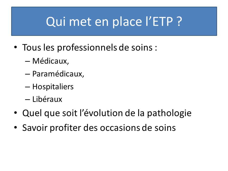 Qui met en place lETP ? Tous les professionnels de soins : – Médicaux, – Paramédicaux, – Hospitaliers – Libéraux Quel que soit lévolution de la pathol