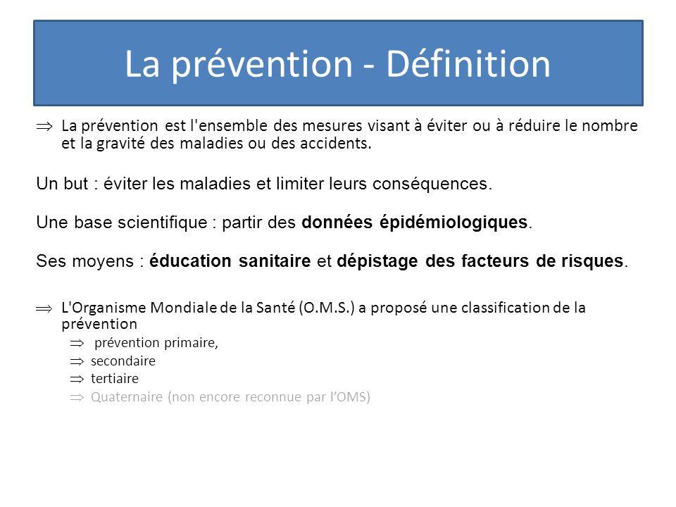 La prévention - Définition La prévention est l'ensemble des mesures visant à éviter ou à réduire le nombre et la gravité des maladies ou des accidents