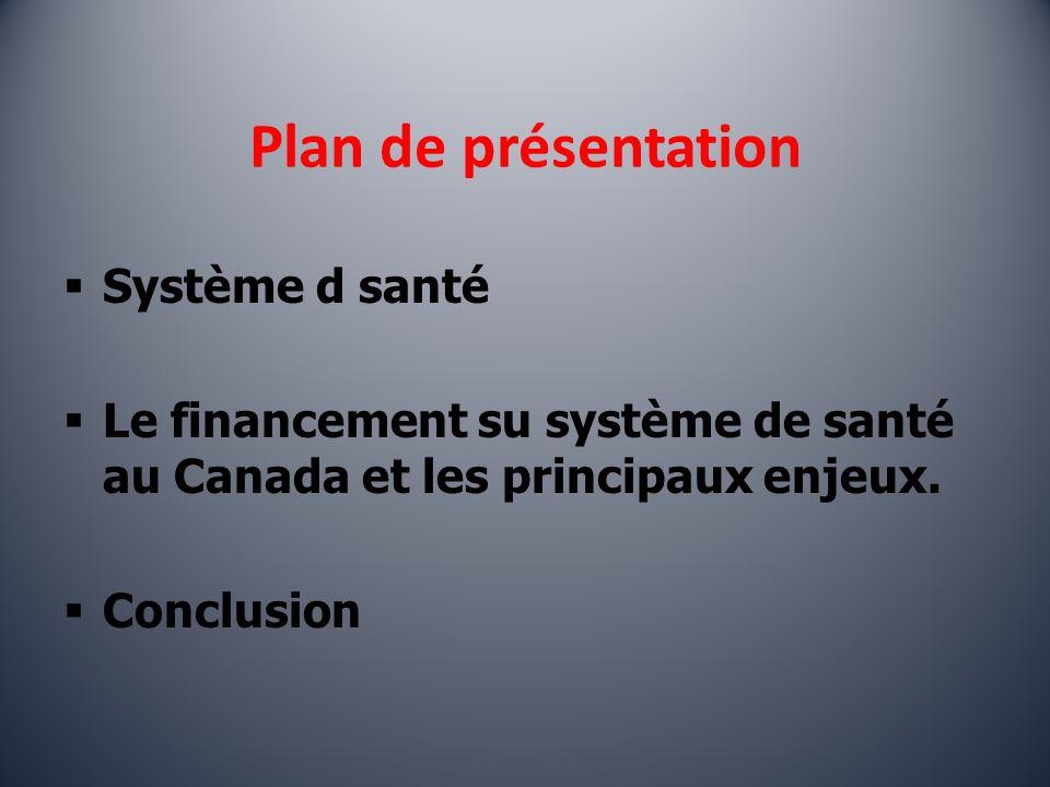 Plan de présentation Système d santé Le financement su système de santé au Canada et les principaux enjeux.