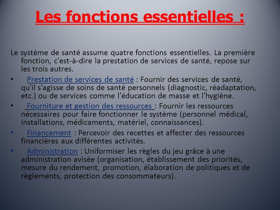 Les fonctions essentielles : Le système de santé assume quatre fonctions essentielles.