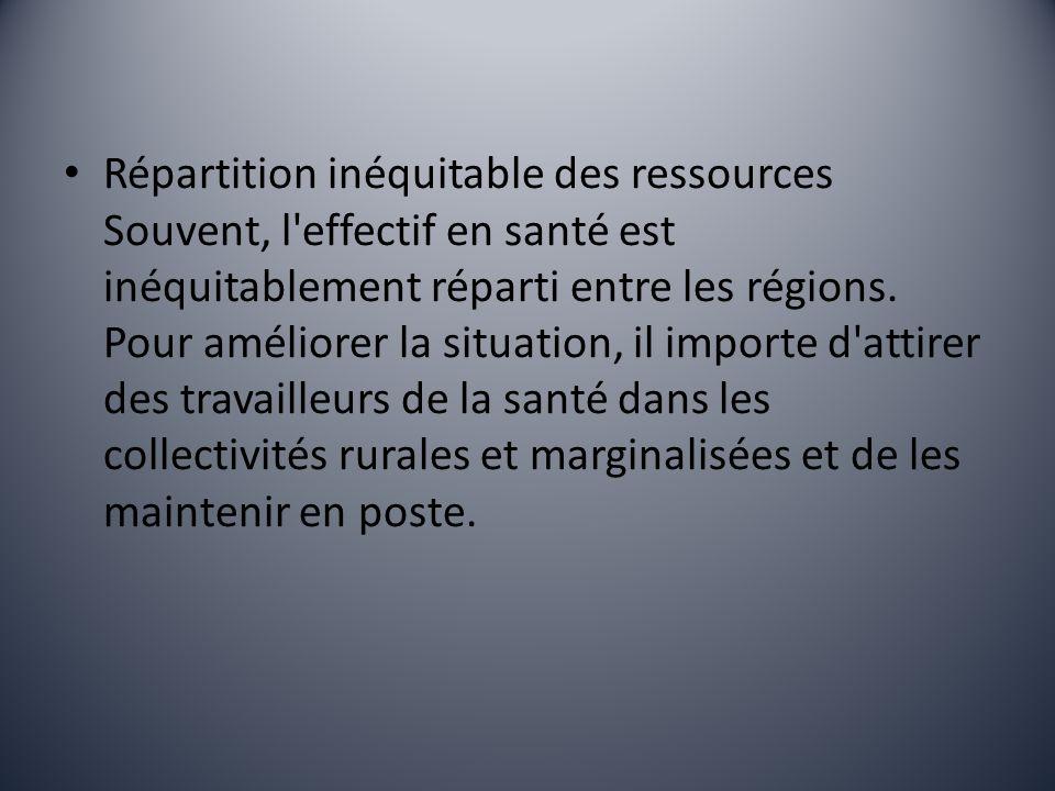 Répartition inéquitable des ressources Souvent, l effectif en santé est inéquitablement réparti entre les régions.