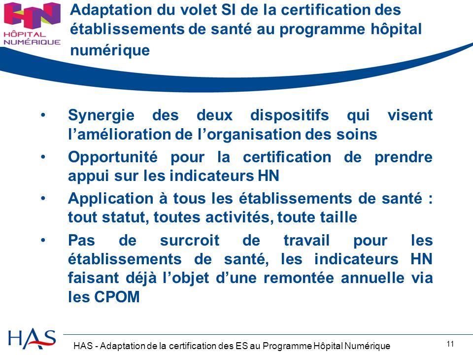 HAS - Adaptation de la certification des ES au Programme Hôpital Numérique 11 Adaptation du volet SI de la certification des établissements de santé a