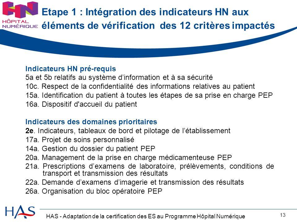 HAS - Adaptation de la certification des ES au Programme Hôpital Numérique 13 Etape 1 : Intégration des indicateurs HN aux éléments de vérification de