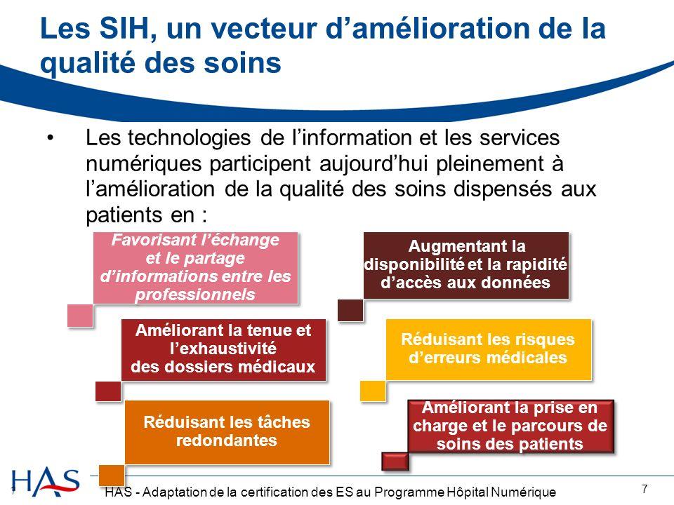 HAS - Adaptation de la certification des ES au Programme Hôpital Numérique Les SIH, un vecteur damélioration de la qualité des soins 7 Les technologie