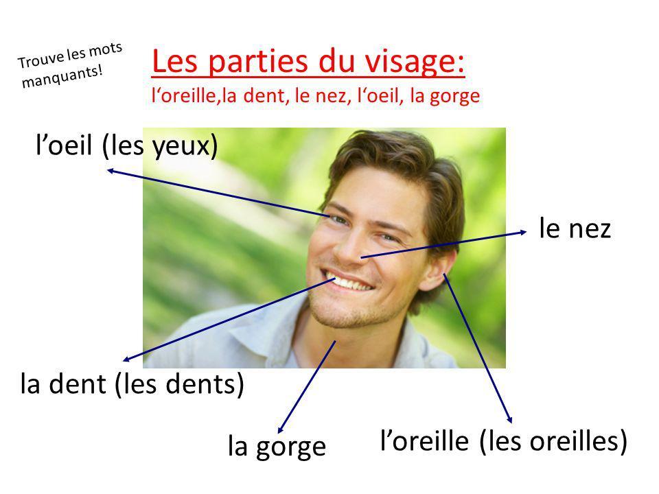 le nez la dent (les dents) loreille (les oreilles) loeil (les yeux) la gorge Les parties du visage: loreille,la dent, le nez, loeil, la gorge Trouve les mots manquants!